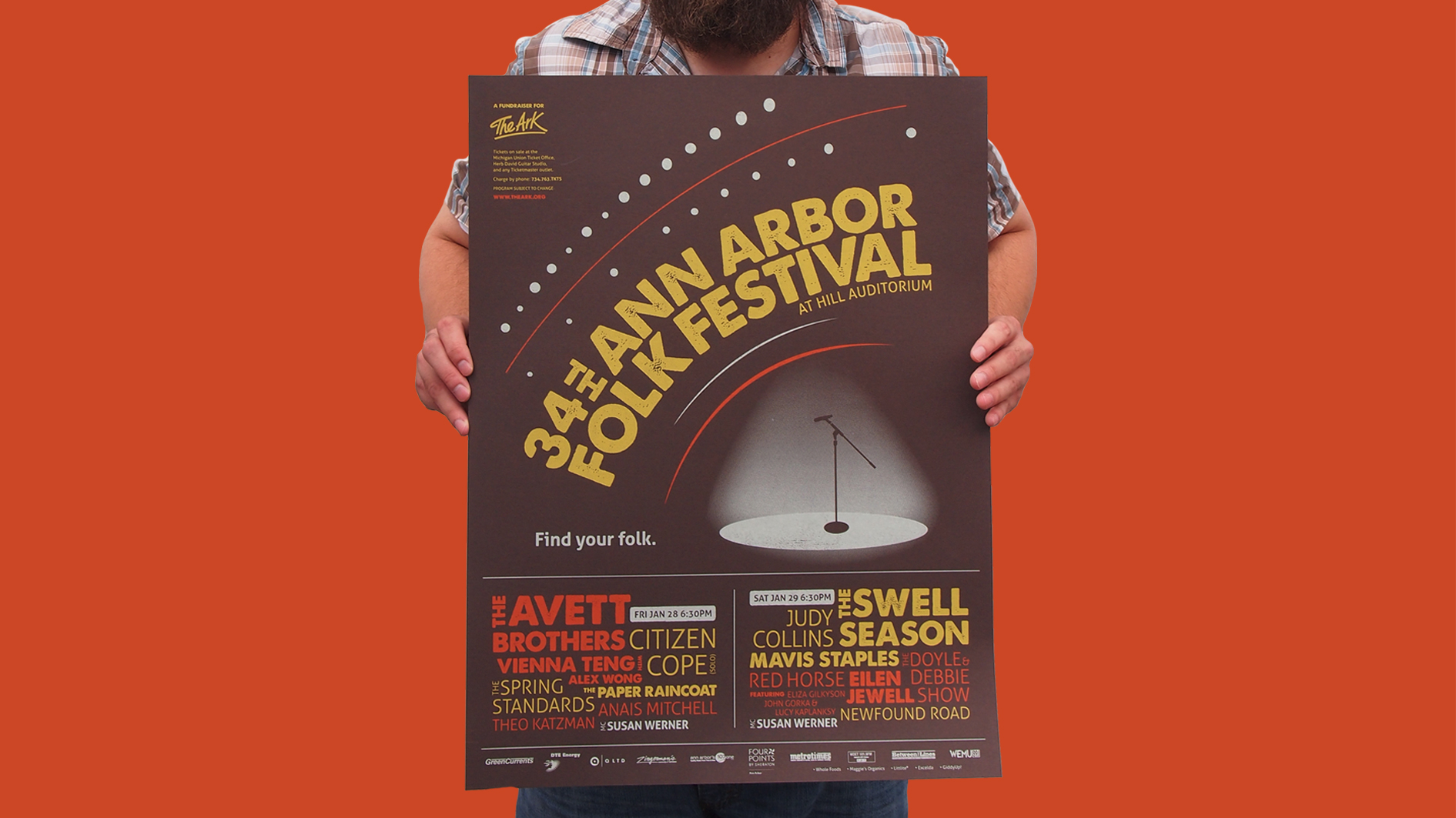 34th Ann Arbor Folk Festival Poster Design