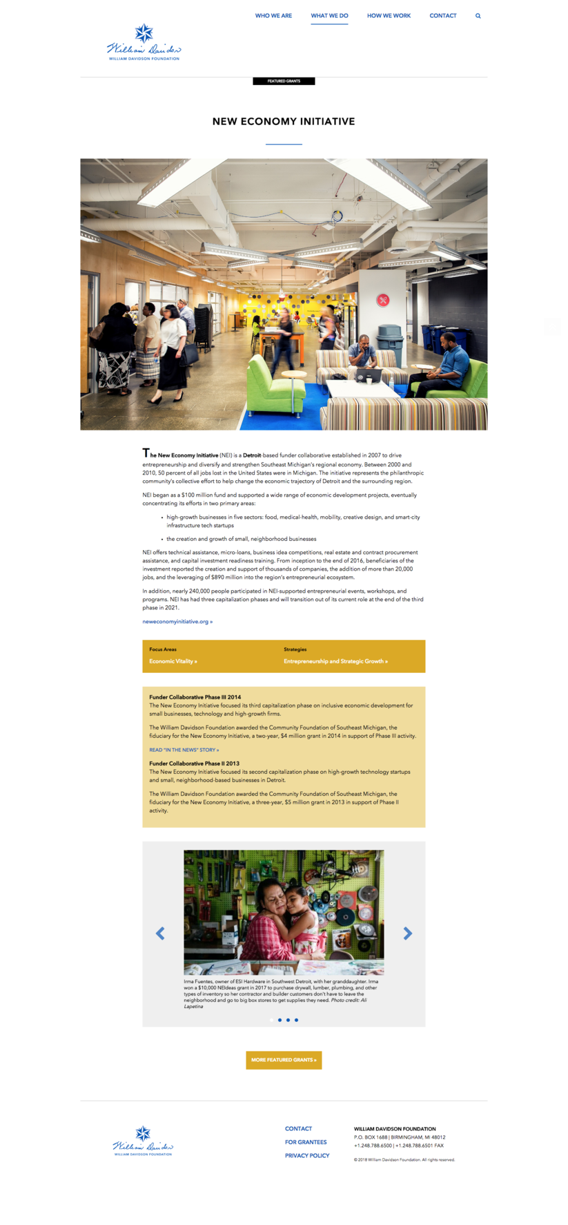 Website, Featured Grants Page