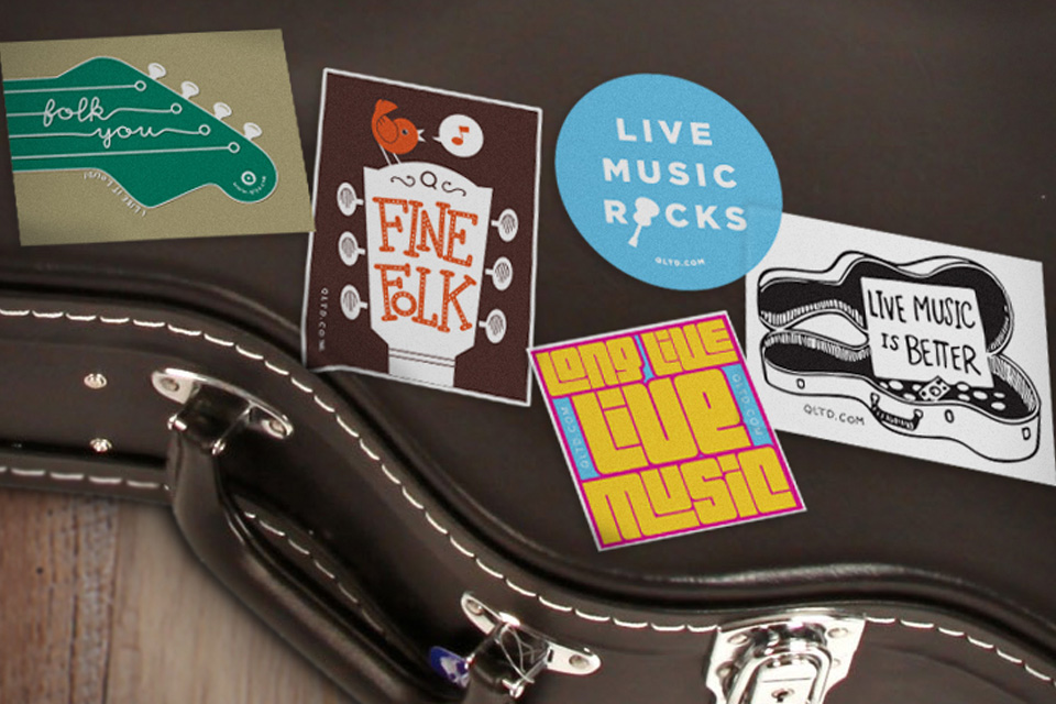 colorful stickers on guitar case