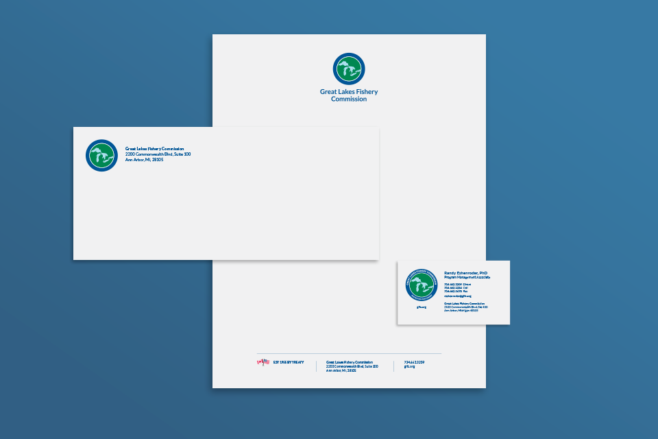 GLFC envelope, letterhead, and business card