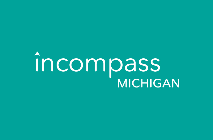 Incompass Michigan logo reversed out of green